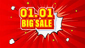 Shopping Day 01.01 Global Big Sale of the year. Expressive volumetric text. Pop art background with comic speech bubble. Vector 3d illustration.