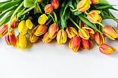 Lovely greeting card with tulips for Mothers day, wedding or happy event. White background. Top view. Copy space