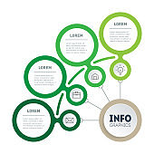 Green Business presentation or info graphics concept with 4 steps. A quarter of a circle. Template of Infographic of technology or eco education process with four options. Segmented Annual report.