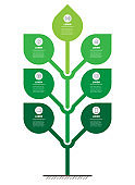 Vertical infographics or timeline with 7 options. Tree with leafs. Development and growth of the eco business or green technology. Business concept with seven steps or processes.