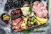 Antipasto platter with ham, prosciutto, salami, blue cheese, mozzarella  and olives. Gray background. Top view