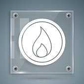 White Fire flame icon isolated on grey background. Square glass panels. Vector Illustration
