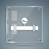 White Industry metallic pipe and manometer icon isolated on grey background. Square glass panels. Vector Illustration