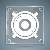 White Stereo speaker icon isolated on grey background. Sound system speakers. Music icon. Musical column speaker bass equipment. Square glass panels. Vector Illustration