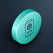 Isometric line Passport with ticket icon isolated on black background. Identification Document. Concept travel and tourism. Turquoise circle button. Vector Illustration