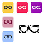Black line Glasses icon isolated on white background. Eyeglass frame symbol. Set icons in color square buttons. Vector Illustration