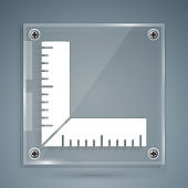 White Corner ruler icon isolated on grey background. Setsquare, angle ruler, carpentry, measuring utensil, scale. Square glass panels. Vector Illustration