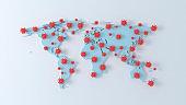 World map coronavirus outbreak. COVID-19 virus particles