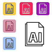 Black line AI file document. Download ai button icon isolated on