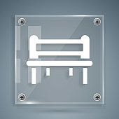 White Romantic bench icon isolated on grey background. Square glass panels. Vector