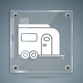 White Rv Camping trailer icon isolated on grey background. Travel mobile home, caravan, home camper for travel. Square glass panels. Vector Illustration
