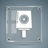 White Spray can nozzle cap icon isolated on grey background. Square glass panels. Vector Illustration