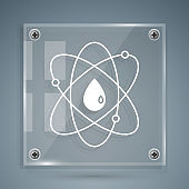 White Atom icon isolated on grey background. Symbol of science, education, nuclear physics, scientific research. Square glass panels. Vector Illustration