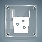 White Glass with water icon isolated on grey background. Soda glass. Square glass panels. Vector Illustration