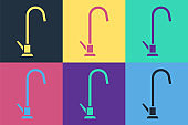 Pop art Water tap icon isolated on color background. Vector Illustration
