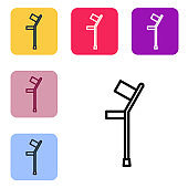 Black line Crutch or crutches icon isolated on white background.