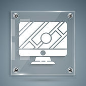 White Computer monitor and folded map with location marker icon isolated on grey background. Square glass panels. Vector Illustration