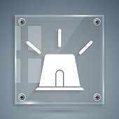 White Flasher siren icon isolated on grey background. Emergency flashing siren. Square glass panels. Vector Illustration