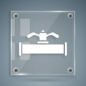 White Industry metallic pipe and valve icon isolated on grey background. Square glass panels. Vector Illustration