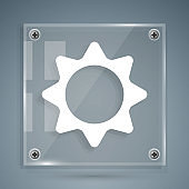 White Sun icon isolated on grey background. Summer symbol. Good sunny day. Square glass panels. Vector Illustration