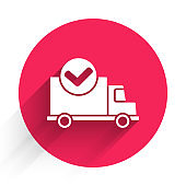 White Delivery truck with check mark icon isolated with long shadow. Red circle button. Vector Illustration
