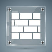 White Bricks icon isolated on grey background. Square glass panels. Vector Illustration