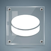 White Hockey puck icon isolated on grey background. Square glass panels. Vector Illustration