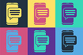 Pop art New chat messages notification on phone icon isolated on color background. Smartphone chatting sms messages speech bubbles. Vector Illustration