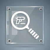 White Pistol or gun search icon isolated on grey background. Police or military handgun. Small firearm. Square glass panels. Vector