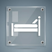 White Bed icon isolated on grey background. Square glass panels. Vector Illustration