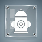 White Fire hydrant icon isolated on grey background. Square glass panels. Vector Illustration