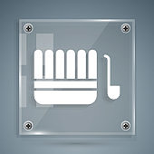 White Sauna bucket and ladle icon isolated on grey background. Square glass panels. Vector Illustration