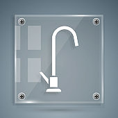 White Water tap icon isolated on grey background. Square glass panels. Vector Illustration