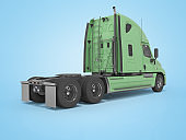 3d rendering of green truck for cargo transportation rear view on blue background with shadow