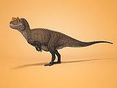 3D rendering dinosaur on orange background with shadow