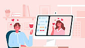 Virtual relationships. Online date during quarantine and self-isolation, woman talking and drinking wine with her partner via video chat, virtual relationship while distancing, man and woman in love.