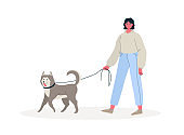 Young woman walking with dog outdoor, healthy active lifestyle. Colorful flat cartoon vector Illustration for service of pet sitter, walker, vet clinic, pet care, hospital, dog shelter.