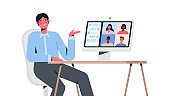 Videoconference with colleagues. Corporate video call, distant discussion, web chatting, online meeting. Remote work. Work from home. Concept of teamwork during quarantine. Flat vector illustration