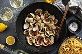 Freshmade clams on pan