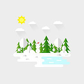 Illustration of beautiful forest, christmas tree and snowman scene. Winter landscape in flat style. Sunny day. Background. Mountains, forest, water, camping, hiking, tourism
