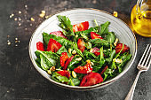 Summer appetizing salad with strawberry