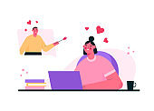 Virtual relationships. Online date during quarantine and self-isolation. Couple chatting online, meeting at dating app, talking via video chat. Man and woman in love. Vector flat cartoon illustration.