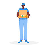 Pizza delivery man holding open cardboard box with pizza inside Delivery order. Fast courier. Restaurant food service. Vector illustration in cartoon flat style