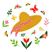 Straw hat with a ribbon. Spring set: butterflies, flowers, plants. Lettering Hello Spring. Flat design.