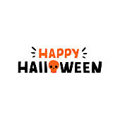 Cute Lettering phrase Happy Halloween. Design Elements for cards, posters, banner.