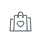 shopping bag vector icon isolated on white background. Outline, thin line shopping bag icon for website design and mobile, app development. Thin line shopping bag outline icon vector illustration.