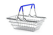 Empty shopping basket blue handles