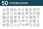 set of 50 videoblogger icons. outline thin line icons such as no, video recorder, notes, backpacker, wifi router, spotlight, profile
