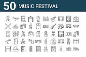 set of 50 music festival icons. outline thin line icons such as grandstand, big screen, microphone, toilet, drum, bracelet, music, stage, music, walkie talkie
