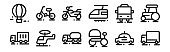 set of 12 thin outline icons such as truck, ricksaw, helicopter, bus, motorcycle, bicycle for web, mobile